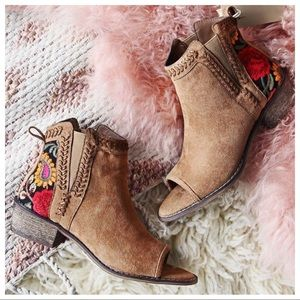 Shoes - Camel Embroidered Open Toe Bootie